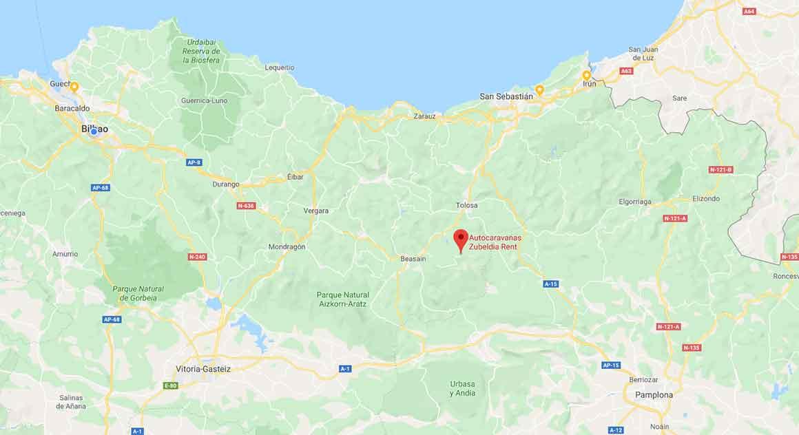 Mapa de ubicación de Zubeldia Rent, alquiler de autocaravanas